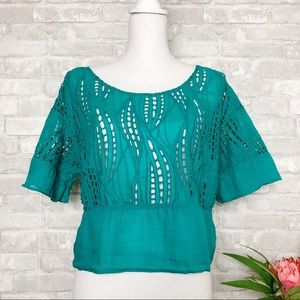 TRACY REESE | Teal Eyelet Lace Crop Top S